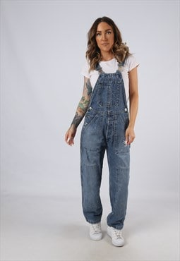 Vintage Denim Dungarees Wide Tapered Leg UK 10 Small (JA5M)