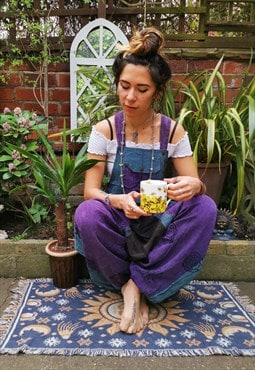 Fairtrade Turquoise & Purple Block Print Overalls Dungarees