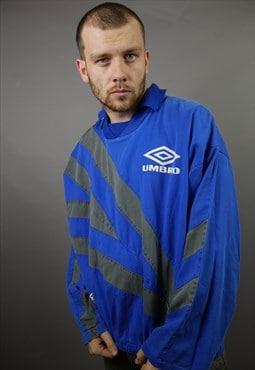 Vintage Umbro Rugby Top Pullover in Blue with All Over Logo