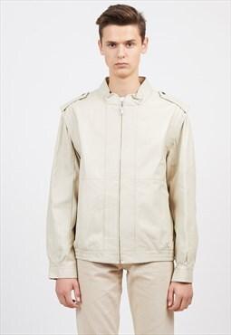 Vintage Beige Leather Jacket