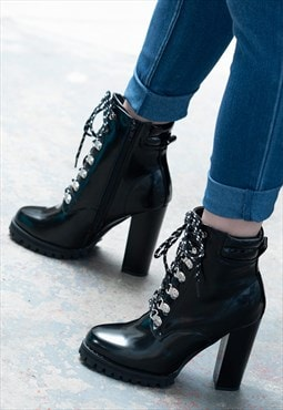 Lace Up Block Heel Ankle Boots - Black Leather Style-Almeria