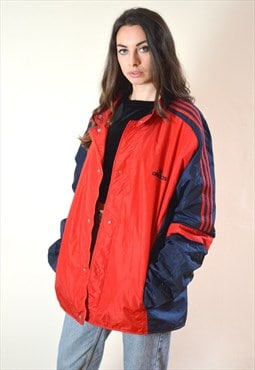 1990s Vintage Red and Blue Adidas Oversized Jacket