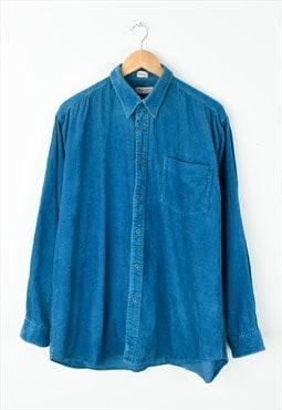 Vintage 90s Jumbo Cord Shirt : Blue