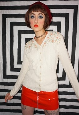 Vintage 70s Crochet Knit Cardigan With Floral Embroidery