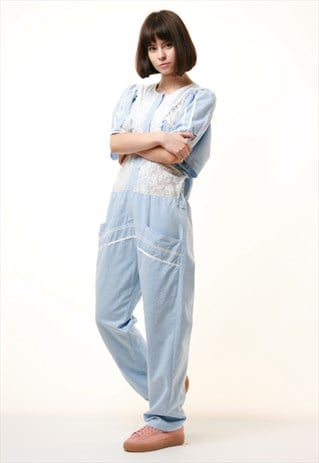 90S VINTAGE LIGHT BLUE SUMMER OVERSIZED JUMPSUIT 939