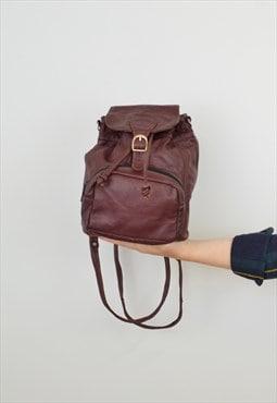 Mini Leather Drawstring Backpack Maroon