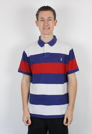 Vintage Polo Ralph Lauren Striped Polo Shirt in Red, White
