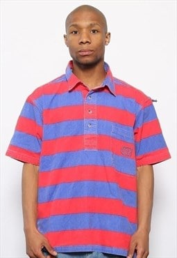Vintage Striped Polo Shirt Red and Blue