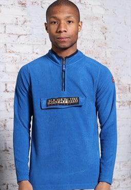 Vintage Napapijri 1/4 Zip Big Logo Fleece Blue