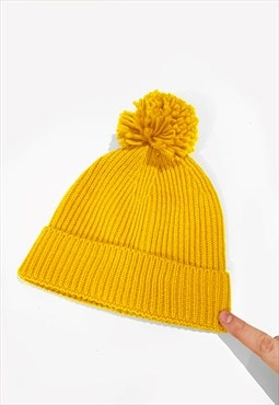 Ski Bobble Knitted Ribbed Beanie Hat - Gold Yellow
