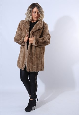 FAUX FUR COAT JACKET SHORT VINTAGE UK 14 (F85G)