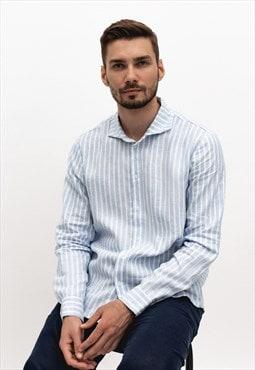 Regular fit linen shirt man with long sleeves