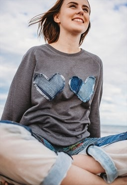 Sweatshirt In Grey With Double Denim Love Hearts