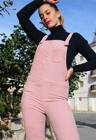 Pale Pink Corduroy Cropped Fitted Dungaree