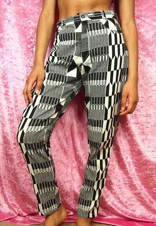 KENTE BLACK AND WHITE TROUSERS