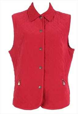 Vintage 80s Red Quilted Collared Button Down Sleeveless Vest