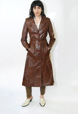 Leather Wrap Coat (S) vintage 70s brown trench belt slim 60s