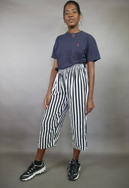 Black & White Striped Culotte Wide Leg Cropped Trousers