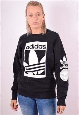 Adidas Womens Vintage Sweatshirt Jumper Small Black 90s