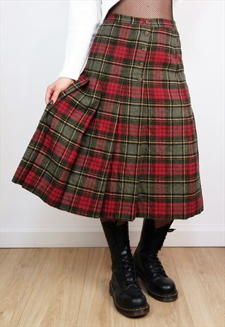 VINTAGE 90'S WOOL PLAID PLEATED SKIRT WITH HIGH WAIST