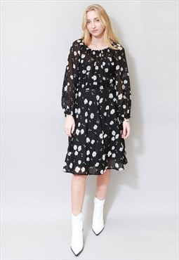 Vintage 1970's Floral Black & White Midi Dress