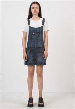 Vintage Blue Denim Playsuit Dungarees Shorts