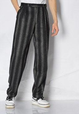 Vintage 70s Grey Striped Wool Blend Pleated Pants