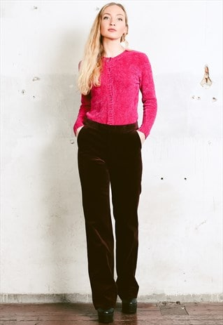 VINTAGE 90S BURGUNDY RED VELVET PANTS