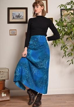 Vintage Paisley Patterned Maxi Skirt in Blue