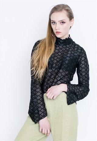 VINTAGE BLACK PATTERNED SEE THROUGH RETRO BLOUSE