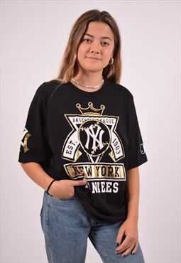 Vintage Majestic NY T-Shirt Top Black