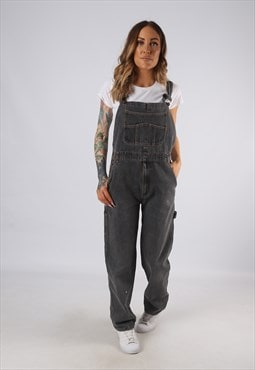 Vintage Denim Dungarees Wide Straight Leg UK 10 Small (JE4P)