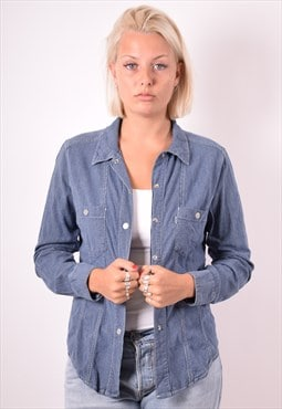 Levi's Womens Vintage Denim Shirt Medium Blue Stripes 90s