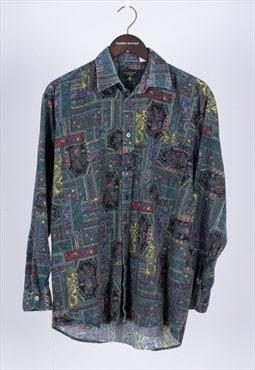 Vintage 80sGreen Flannel Inca Aztec Shirt