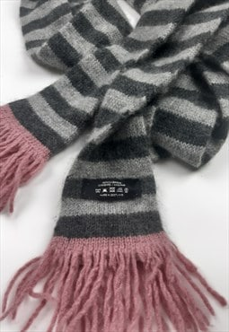 Vintage Pink and Grey Cashmere Long Scarf