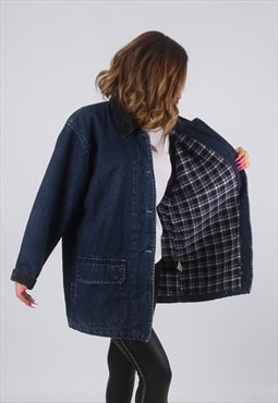 Vintage Denim Jacket Oversized Longline Checked UK 14 (HDH)