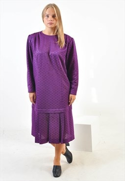 Vintage midi pleated polka dress in purple