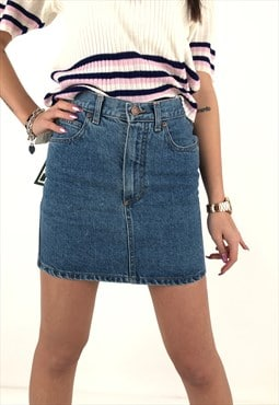 Vintage Mini Skirt High Waist in Denim