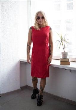 Vintage 80s Midi Linen Dress