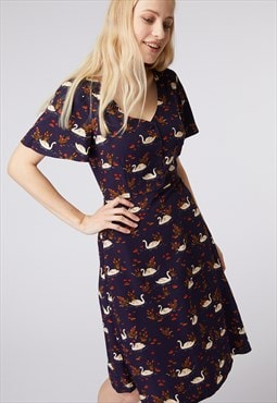 Princess Highway Navy Swan Print Dress