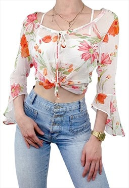 Flowery Cute Babe Mesh Transparent Bell Sleeve Summer Shirt