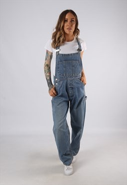 Vintage Denim Dungarees Wide Leg UK 10 Small  (JE4V)