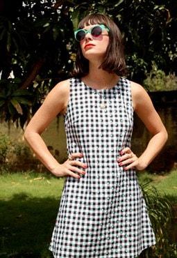 Alexa Black & White Gingham Cotton A-Line Shift Dress