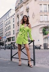 FKNS Neon Green Off-Shoulder Blazer Dress