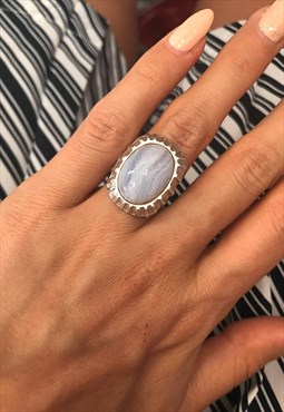 1970's Silver Marbled Stone Ring