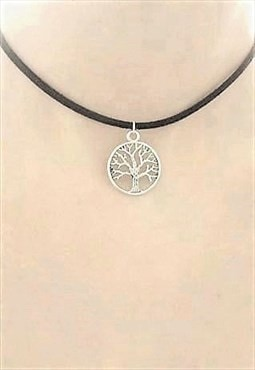 tree of life choker - black suede choker necklace
