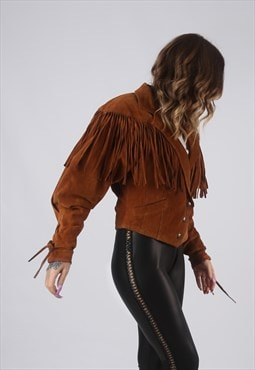 Suede Leather Fringe Tassel Jacket Vintage UK 10 (CWCL)