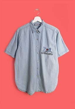 Vintage 90's Lightweight Denim Blouse Cartoon Dolphin