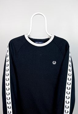Vintage Fred Perry Sweatshirt Taped Seam Black Small