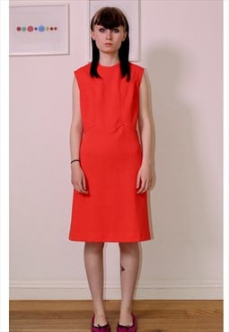 Red orange 60s shift dress